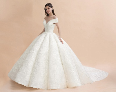 Charming Off-the-Shoulder Appliques Ball Gown Backless Sweep Train_5