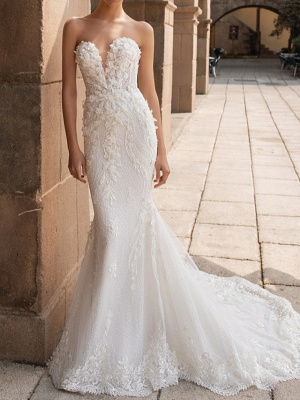 Sweetheart Strapless Mermaid Bridal Gown 3D Floral Sleeveless  Lace Wedding Dress_1