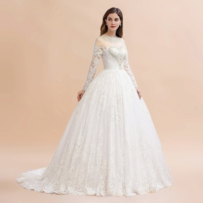 Elegant White Long Sleeve Tulle Lace Appliques Bridal Gowns_6