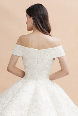 Ivory Off Shoulder Lace Appliques A-line Ball Gown Tulle Wedding Dress_9