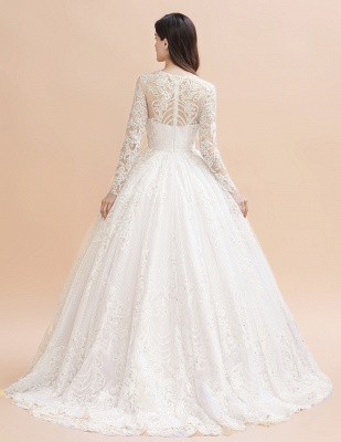 Elegant White Long Sleeve Tulle Lace Appliques Bridal Gowns_2
