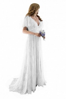 Lace Half Sleeves Boho Wedding Dress Chic Beach Bridal Gowns_2