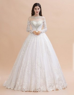 Elegant White Long Sleeve Tulle Lace Appliques Bridal Gowns_1