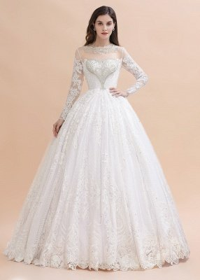 Elegant White Long Sleeve Tulle Lace Appliques Bridal Gowns_3