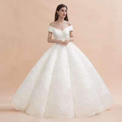 Ivory Off Shoulder Lace Appliques A-line Ball Gown Tulle Wedding Dress_3