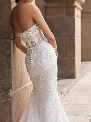 Sweetheart Strapless Mermaid Bridal Gown 3D Floral Sleeveless  Lace Wedding Dress_3