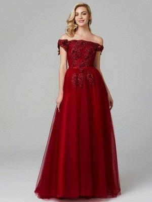 Off Shoulder 3D Floral  Tulle Aline Evening Dress Off Shoulder Party Dress_9