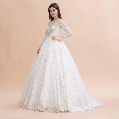Elegant White Long Sleeve Tulle Lace Appliques Bridal Gowns_4