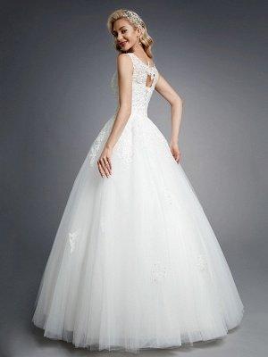 Elegante sin mangas con cuello redondo Vestidos de novia blancos de Aline Vestido de novia de encaje floral_2