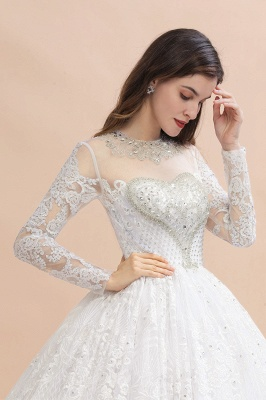 Elegant White Long Sleeve Tulle Lace Appliques Bridal Gowns_8