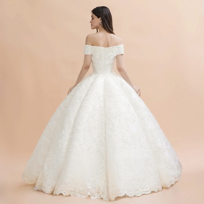 Ivory Off Shoulder Lace Appliques A-line Ball Gown Tulle Wedding Dress_8