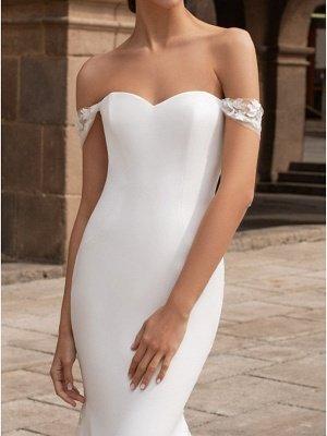 Dreamy Off Shoulder Mermaid Wedding Gowns Trumpt Train_3