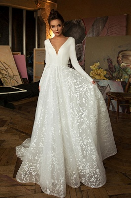 Elegant Lace Bridal A-line V-Neck Long Sleeves Wedding Dress