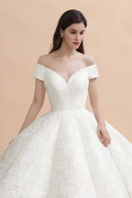 Charming Off-the-Shoulder Appliques Ball Gown Backless Sweep Train_7