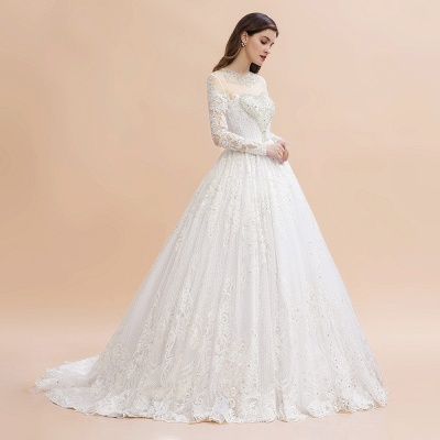 Elegant White Long Sleeve Tulle Lace Appliques Bridal Gowns_7
