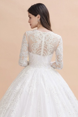 Elegant White Long Sleeve Tulle Lace Appliques Bridal Gowns_9