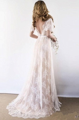 Lace Half Sleeves Boho Wedding Dress Chic Beach Bridal Gowns_5