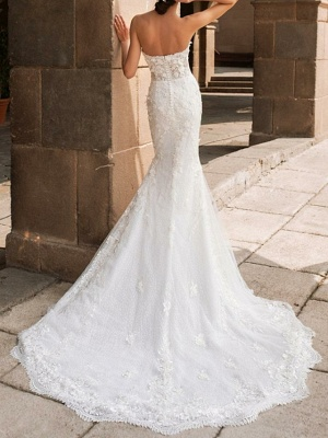 Sweetheart Strapless Mermaid Bridal Gown 3D Floral Sleeveless  Lace Wedding Dress_2