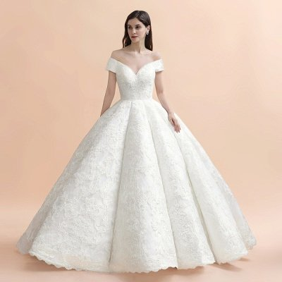 Charming Off-the-Shoulder Appliques Ball Gown Backless Sweep Train_4