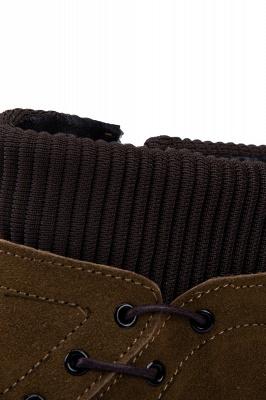 Botte de travail marron à glissière latérale pour homme Botte en laine à glissière en velours antidérapante_6