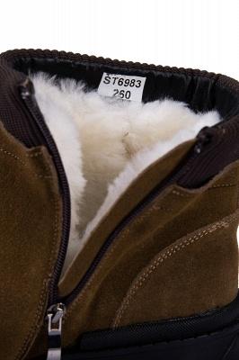 Botte de travail marron à glissière latérale pour homme Botte en laine à glissière en velours antidérapante_8