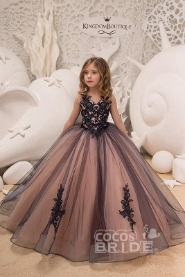 Sleeveless 3DFloral Lace Appliques Tulle Flower Girl Dress_4