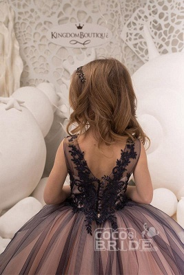 Sleeveless 3DFloral Lace Appliques Tulle Flower Girl Dress_3