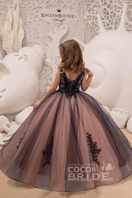 Sleeveless 3DFloral Lace Appliques Tulle Flower Girl Dress_2