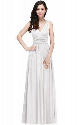 Ruched Chiffon A-line V-Neck Burgundy Evening Dresses_1