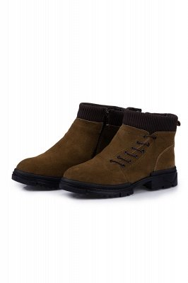 Brown Side Zip Work Boot for Men Non Slip Velvet Zipper Wool Boot