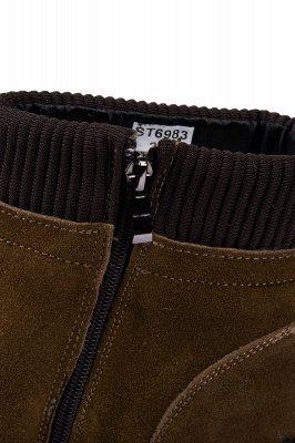 Brown Side Zip Work Boot für Männer Rutschfester Samt Reißverschluss Wollstiefel_7