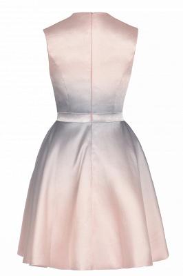 Mini vestido de uso diario elegante degradado Vestido de fiesta sin mangas con cuello redondo y línea A_11