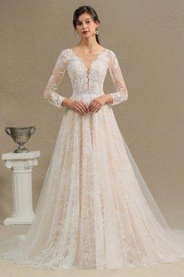 Glamouröse Elfenbein Spitze Applikationen Hochzeitskleid Tüll Langarm Brautkleider_1
