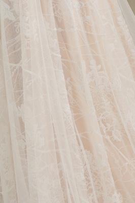 Glamouröse Elfenbein Spitze Applikationen Hochzeitskleid Tüll Langarm Brautkleider_8
