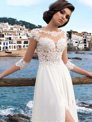 White Lace Appliques Tulle Simple Wedding Dress Side Split_3