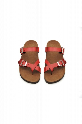 Women's Cork Slides Sandals Adjustable Double Buckle Flat Sandals for Women Slide_2