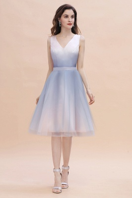 Elegant Gradient V-Neck Evening Party Dress A-line Daily Wear Short Dress_2