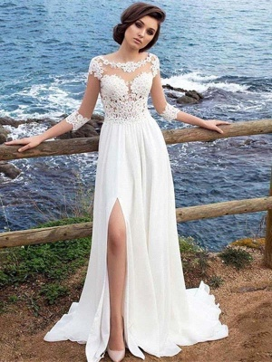 White Lace Appliques Tulle Simple Wedding Dress Side Split_1