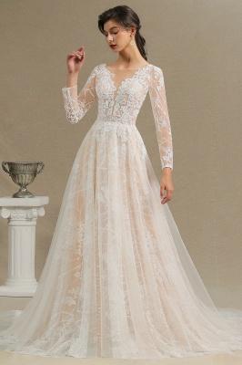 Glamouröse Elfenbein Spitze Applikationen Hochzeitskleid Tüll Langarm Brautkleider_11
