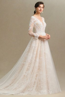 Glamorous Ivory Lace Appliques Wedding Dress Tulle Long Sleeve Bridal Gowns_7