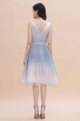 Elegantes Abendkleid mit V-Ausschnitt und Farbverlauf A-Linie Tägliches kurzes Kleid_4