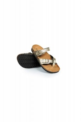 Damen Cork Slides Sandalen Verstellbare flache Sandalen mit Doppelschnalle für Damen Slide_5