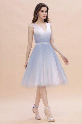 Elegantes Abendkleid mit V-Ausschnitt und Farbverlauf A-Linie Tägliches kurzes Kleid_10
