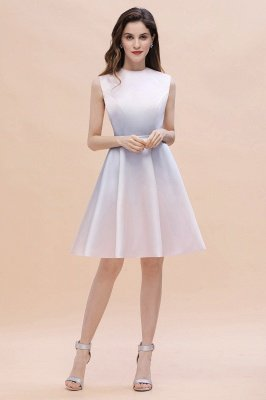 Gradient Elegant Mini Daily Wear Dress A-line Crew neck Sleveless Party Dress_6