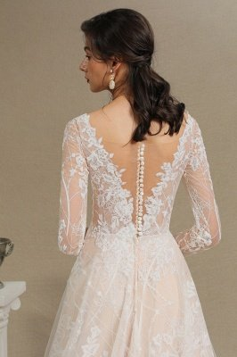 Glamorous Ivory Lace Appliques Wedding Dress Tulle Long Sleeve Bridal Gowns_9