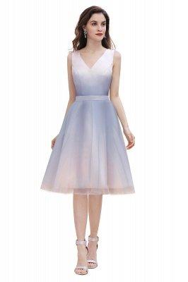 Elegantes Abendkleid mit V-Ausschnitt und Farbverlauf A-Linie Tägliches kurzes Kleid_7