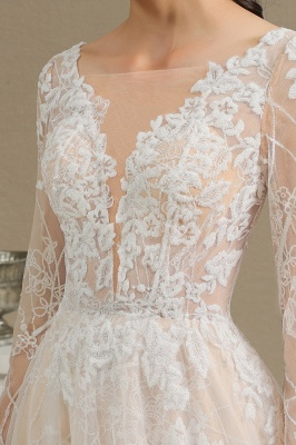 Glamorous Ivory Lace Appliques Wedding Dress Tulle Long Sleeve Bridal Gowns_10
