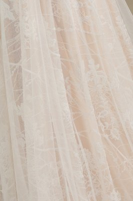 Glamorous Ivory Lace Appliques Wedding Dress Tulle Long Sleeve Bridal Gowns_8