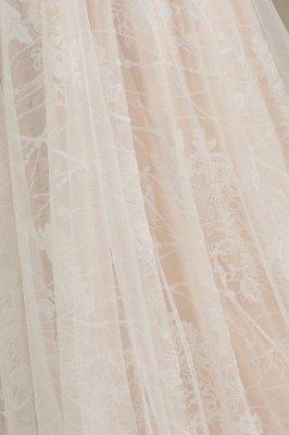 Glamour Ivoire Dentelle Appliques Robe De Mariée Tulle Robes De Mariée À Manches Longues_8