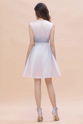 Gradient Elegant Mini Daily Wear Dress A-line Crew neck Sleveless Party Dress_8